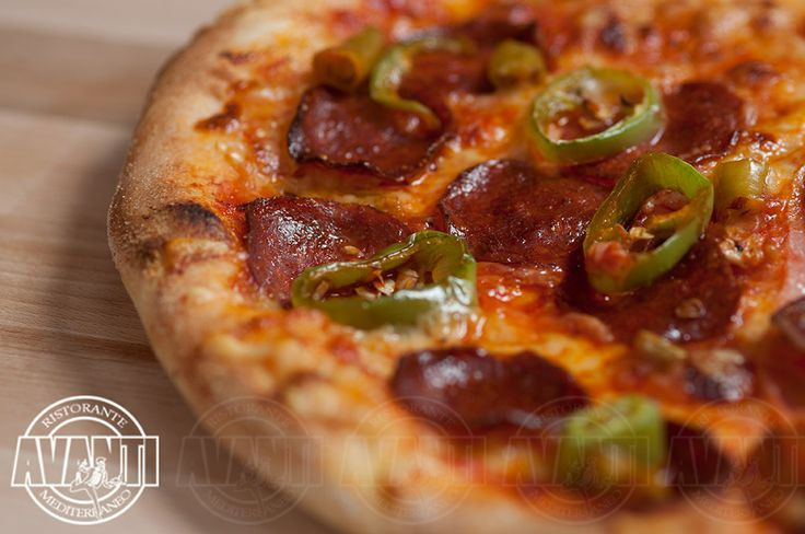 Pizza Inferno (hot tomato sauce, hot pepperoni, salami, green pepper)