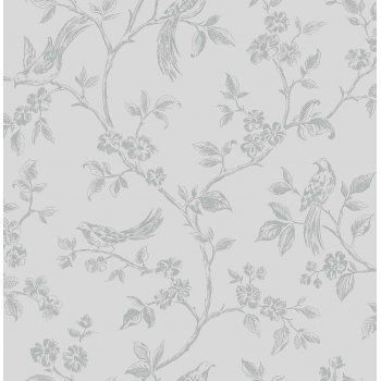 I Love Wallpaper™ Shimmer Birds Wallpaper Soft Grey / Silver (ILW980044) - I Love Wallpaper™ from I love wallpaper UK