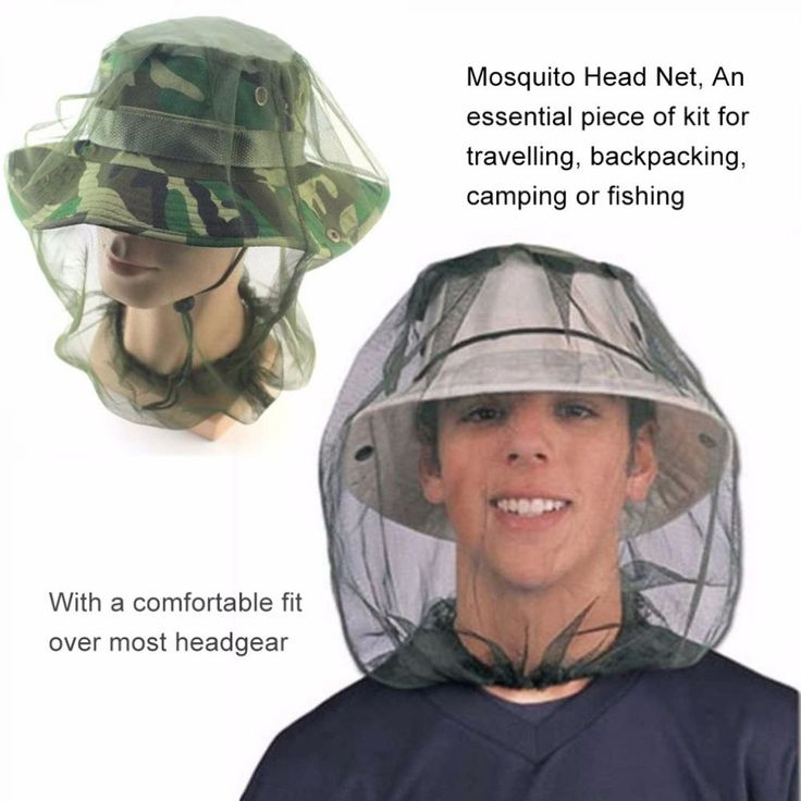 Unisex Fishing Hat Protect Mosquito Mesh Net Camping Hunting Head Face Fish Cap #Unbranded