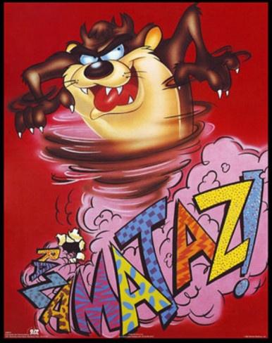 Devil Tasmanian Tune Looney Toons | Looney Tunes Tasmanian Devil Razamataz Prints at AllPosters.com