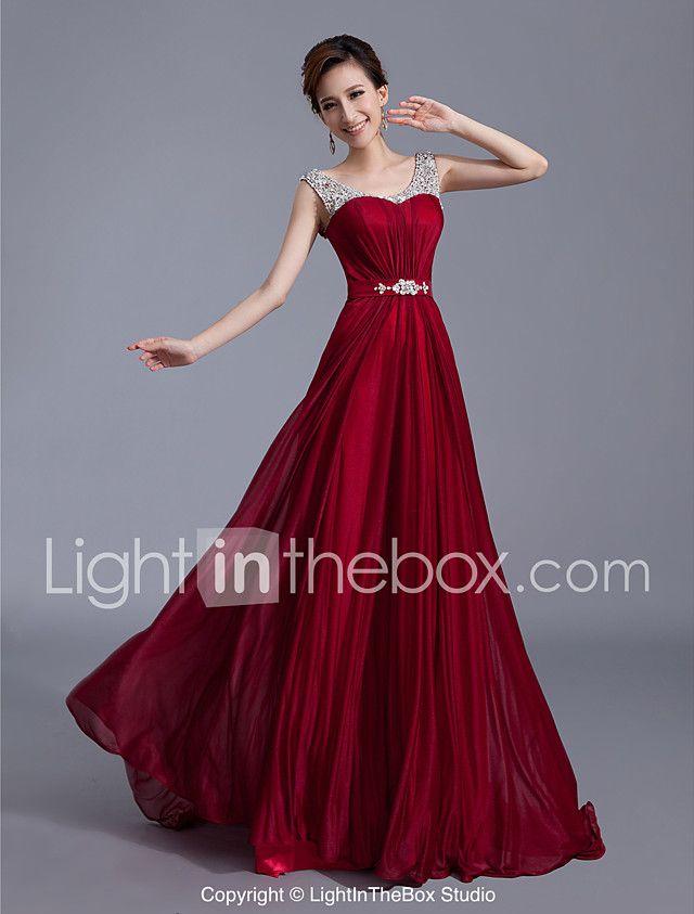 Evento Formal Vestido Corte en A / Princesa Cuchara Larga Seda con Cuentas / Detalles de Cristal / Recogido / Cinta / Lazo / Lentejuelas 2017 - $43780