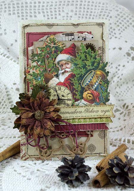 новогодние открытки винтаж скрапбукинг много
