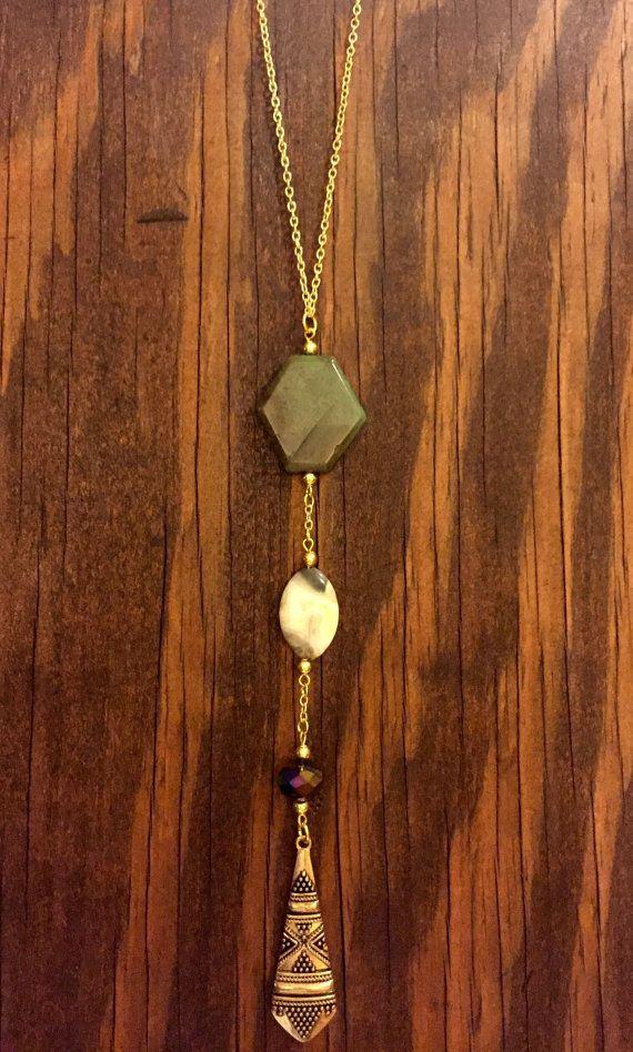 Multistone aztec pendant necklace