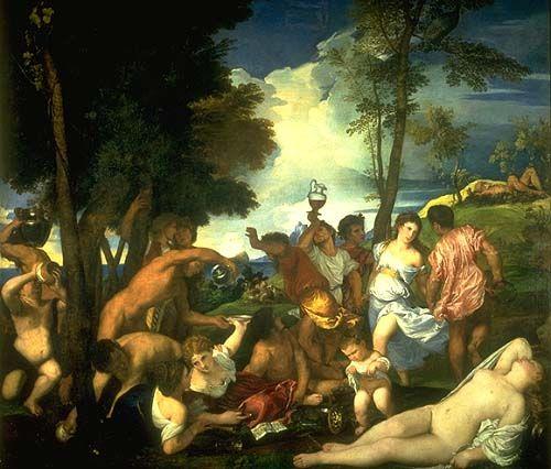 """Nos encontramos ante un cuadro realizado por Tiziano Vecelli di Gregorio, titulado """" El Bacanal""""."""
