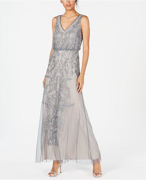 4eaa04decc8 Adrianna Papell Petite Beaded Sleeveless Gown   Reviews - Dresses - Petites  - Macy s