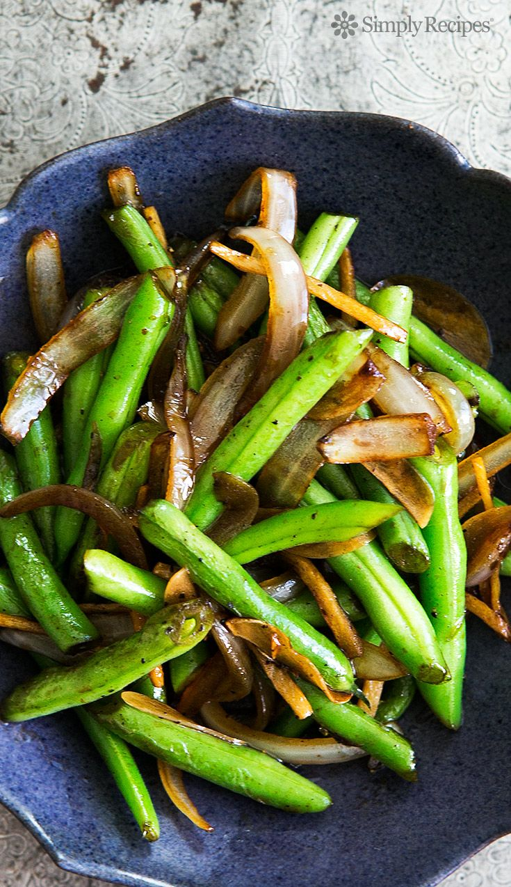 Easy! Green beans stir fried with ginger, onions, garlic and a little soy sauce. On SimplyRecipes.com