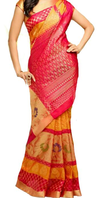 Yellow Handloom Kanjeevaram Pure  Silk  Saree