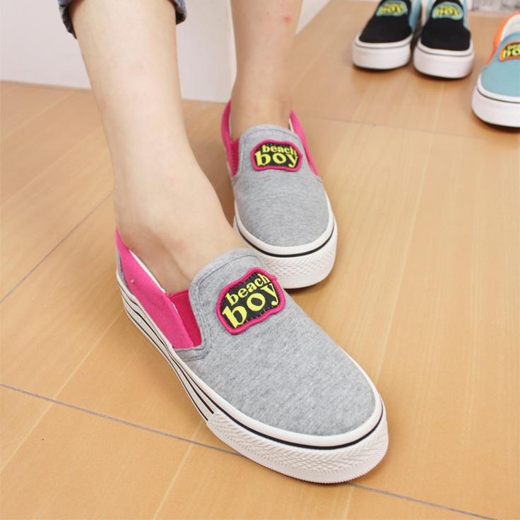 autumn new korean fashion a pedal platform canvas shoes