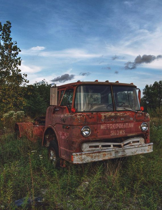 Abandoned Rusty Vintage Red Ford Truck left in Junkyard ...