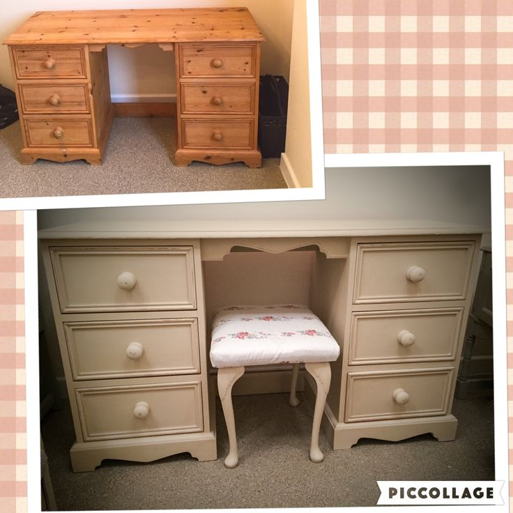 Upcycled pine dressing table painted in Annie Sloan old ochre