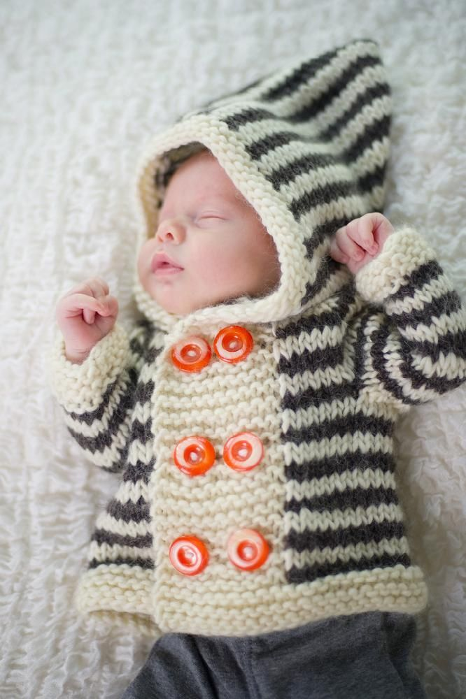 Stripey Duffle Coat Knitting pattern by Kate Oates | Knitting Patterns | LoveKnitting