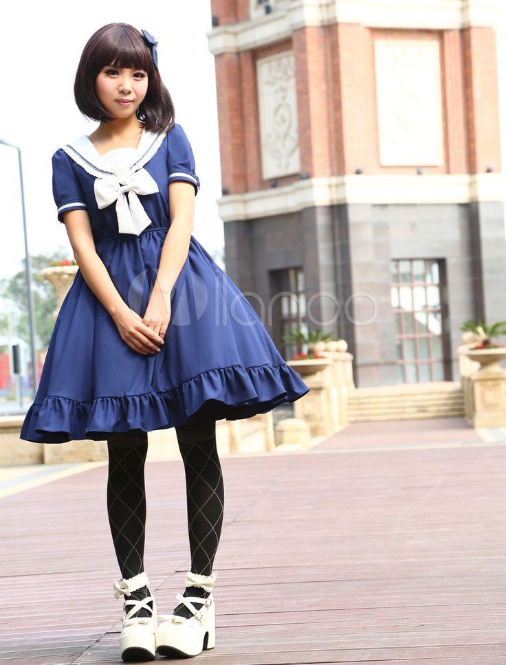 Navy Chiffon Short Sleeves Sailor Collar Ruffles Lolita Dress