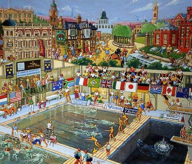 VI World Masters Swimming Championships, Sheffield Joe Scarborough painted 1996