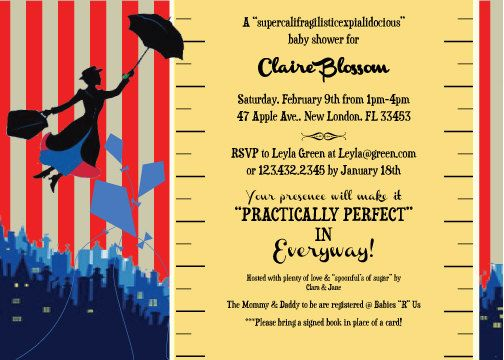 Mary Poppins Party Invitation Baby Shower birthday by lulime44