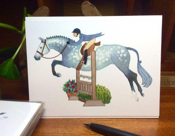 Handmade Illustrated Hunter Jumper Greeting Card: Dappled Gray