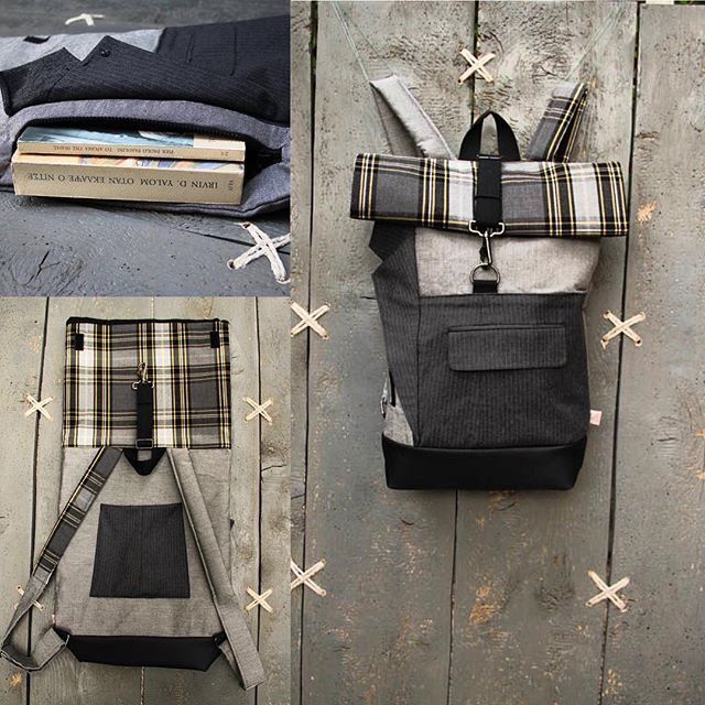 Lapel,pocket,trousers leg... all these parts from a grey striped men's suit are combined on this patchwork of this upcycled roll top rucksack with an extra zipper on the front for easy access to your stuff, by 'Eating the Goober'