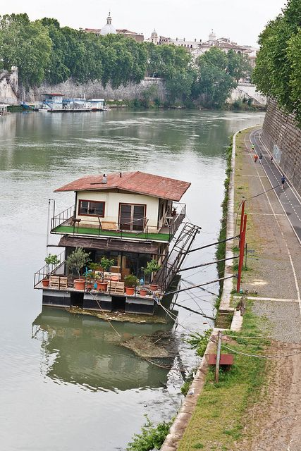 Beautiful Houseboat On The Tiber River, Rome