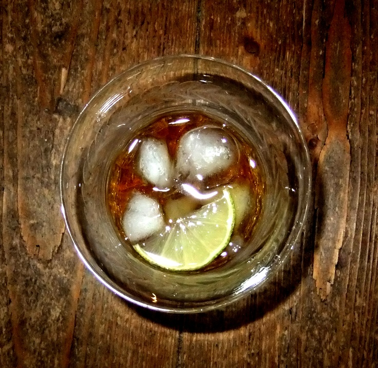 Talisker, lime, ice and crystal