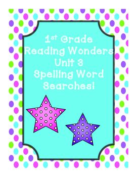 This includes word searches for First Grade Reading Wonders Unit 3 spelling words!Stories:On My Way to SchoolThe Big Yuca PlantThe Gingerbread ManLong Ago and NowFrom Cows to YouAlso includes a spelling word search for all unit 3 spelling words!This is a great and fun way for the students to review spelling words!