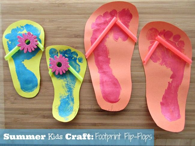 Summer Kids Craft Idea - Footprint Flip Flops #kids #craft #summer