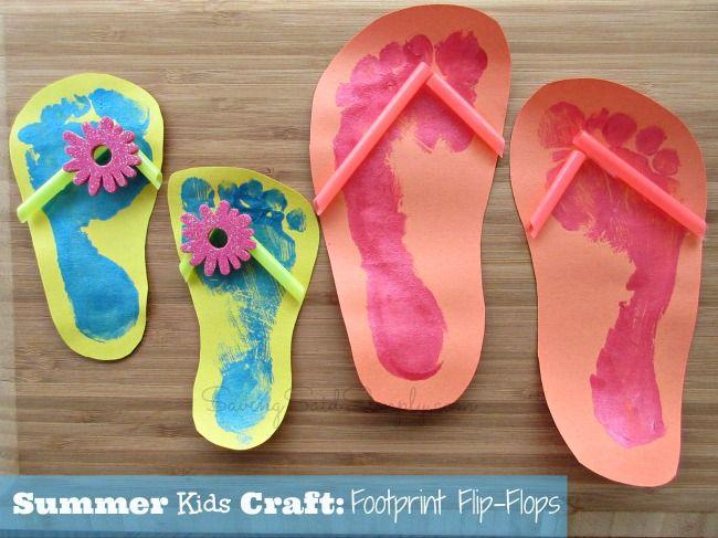 Summer Kids Craft Idea - Footprint Flip Flops #kids #craft #summer