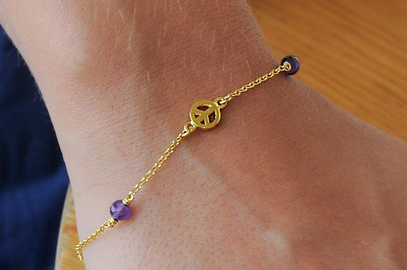 Gold peace sign Silver peace sign Amethyst bracelet by Wavejewels