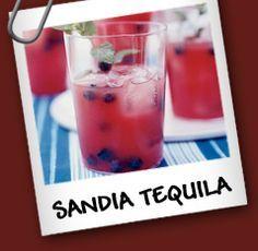 Sandia Tequila • 1/4 taza de agua • 1/4 taza de azúcar • 8 tazas de sandia cortada • 1/4 taza de jugo de limón fresco • 1 + 3/4 taza de arándanos • 3/4 taza de hojas de menta • 1 + 1/4 taza de tequila dorado • Hielo