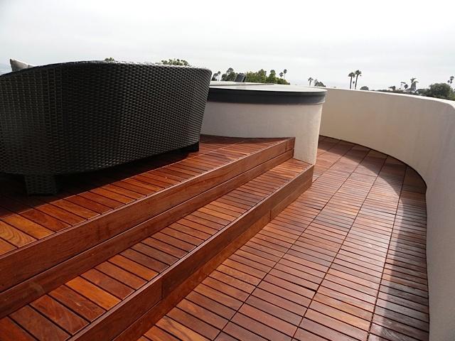 Ipe Deck Tiles Over Roofing Membrane In La Jolla Decks