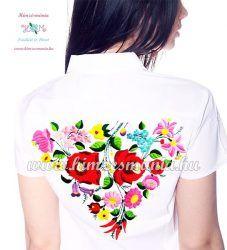 Exkluzív elején-hátulján kalocsai mintás női ing - kézi hímzés - fehér