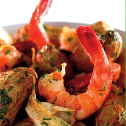 New Potatoes with Garlic, Tomatoes and Shrimp