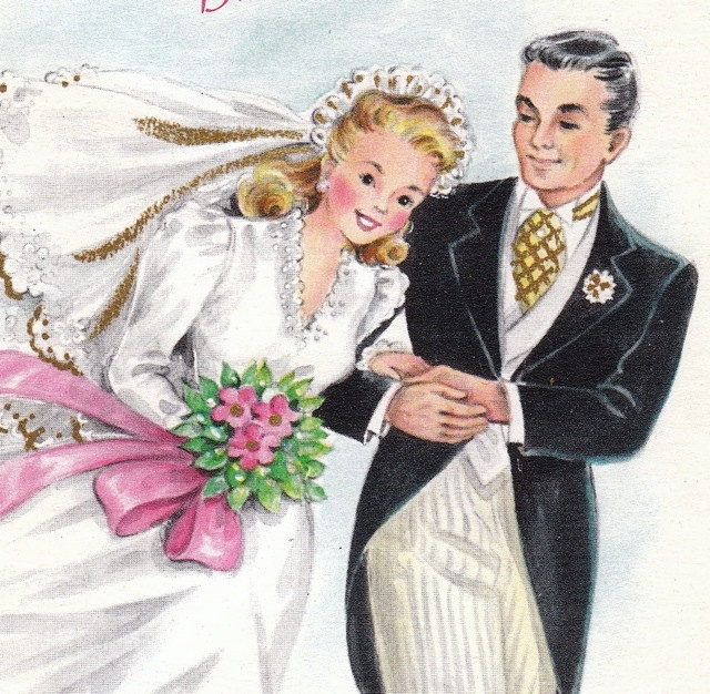 Auguri Matrimonio Vintage : A message for the bride and groom s vintage card