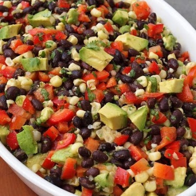 Black Bean Salad with Corn, Red Peppers, Avocado