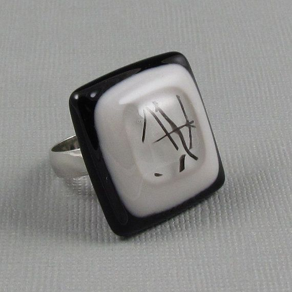 Fused Glass Ring  Black Grey and Clear by GlassJewelrybyAngela, $12.00