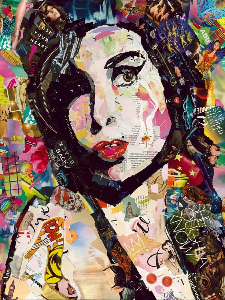 #louislocheadart #amywinehouse #collage #vogue #magazine #art #Lichtenstein #tattoo #bettyboop #jazz  fine art collage by louis lochead