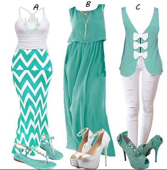 Striped green and white summer dress