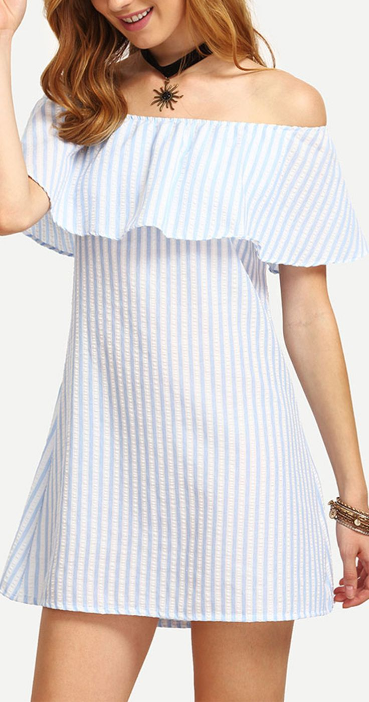 If you're looking to add some clean color pop to that wardrobe of your summer, romwe has got it covered! This Off The Shoulder Vertical Striped A-line Dress will definitely make it memorable for hot summer days.