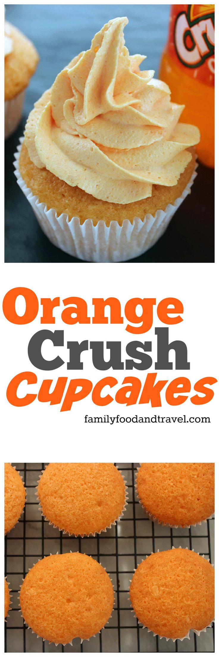 Orange Crush Cupcakes - a delicious alternative to a traditional flavour everyone will enjoy. Made with cake mix, orange crush and orange gelatin.
