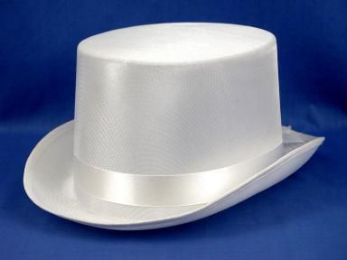White Satin Top Hat - Steal the show in this white satin top hat.  #yyc #hat #classic #costume