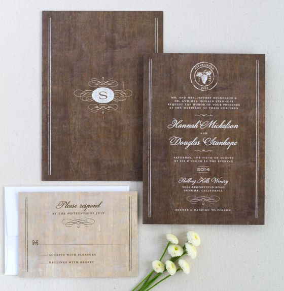 Rustic winery wedding invitation with a wood wine barrel inspired background.
