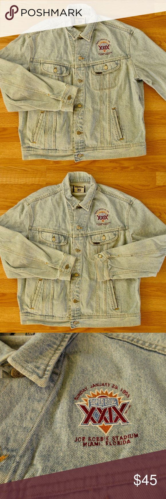 """Vintage 1995 Super Bowl XXIX Denim Jacket, Lee Super cool Super Bowl Souvenir from 1995 game, played in Miami, Florida at Joe Robbie Stadium.  Acid wash denim jacket by Lee.  100% Cotton.  Nice, thick, high quality denim.  Marked a men's size XL.  Chest, 54"""".  Length from back neck,, 28"""".  Sleeves, 26"""".  Shoulders 21"""".  Excellent condition with very little wear.  Please see last pic, as it shows a small hole and two small spots center back.  Great gift for the NFL Football fan in your life…"""