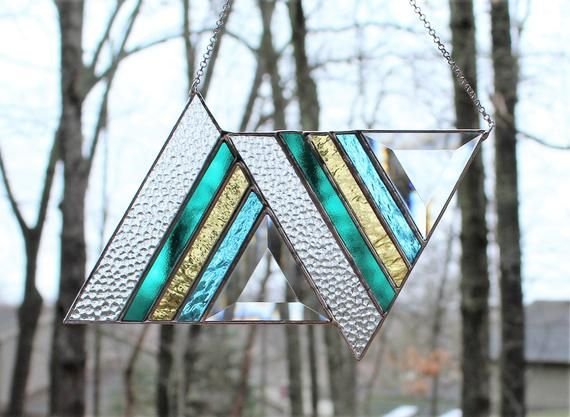 Stained Glass Suncatcher Window Panel With Bevels Triangle
