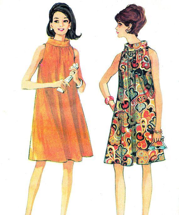 1960s Dress Pattern McCalls 8826 Sleeveless Mod Funnel Neck Tent Dress Junior…