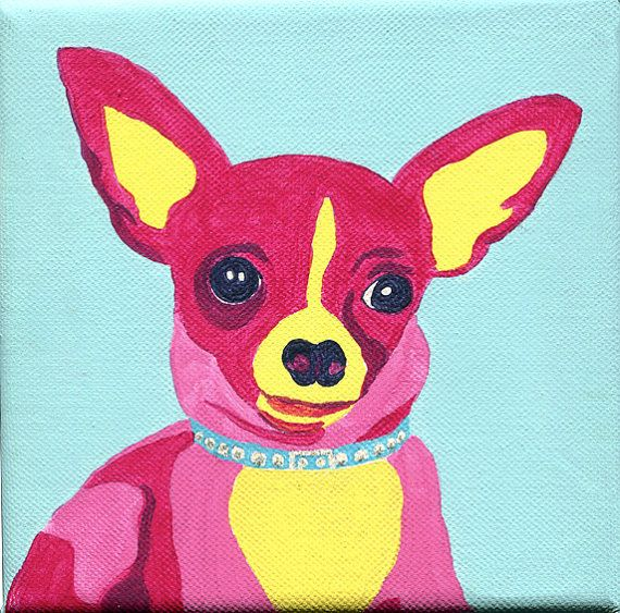 Pinky the Chihuahua 6x6 Acrylic on Wrapped Canvas by PalsByNumber, $110.00