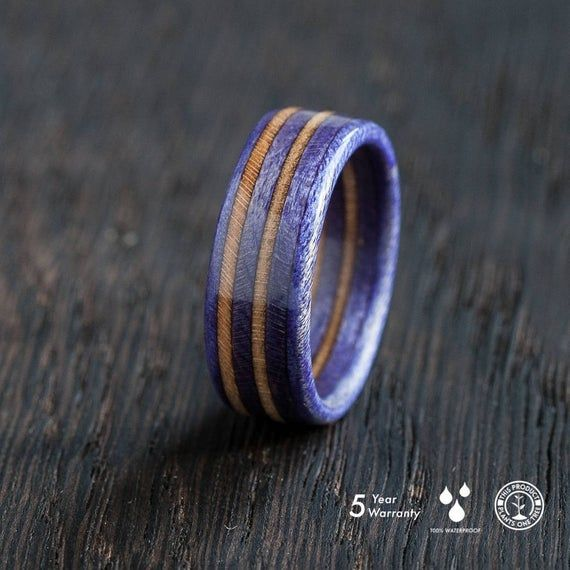 wooden ring purple skateboard ring wood recycled handcrafted gift