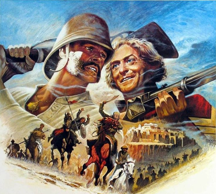 """Tom Jung, movie poster art, detail, """"The Man Who Would Be King,"""" 1975"""