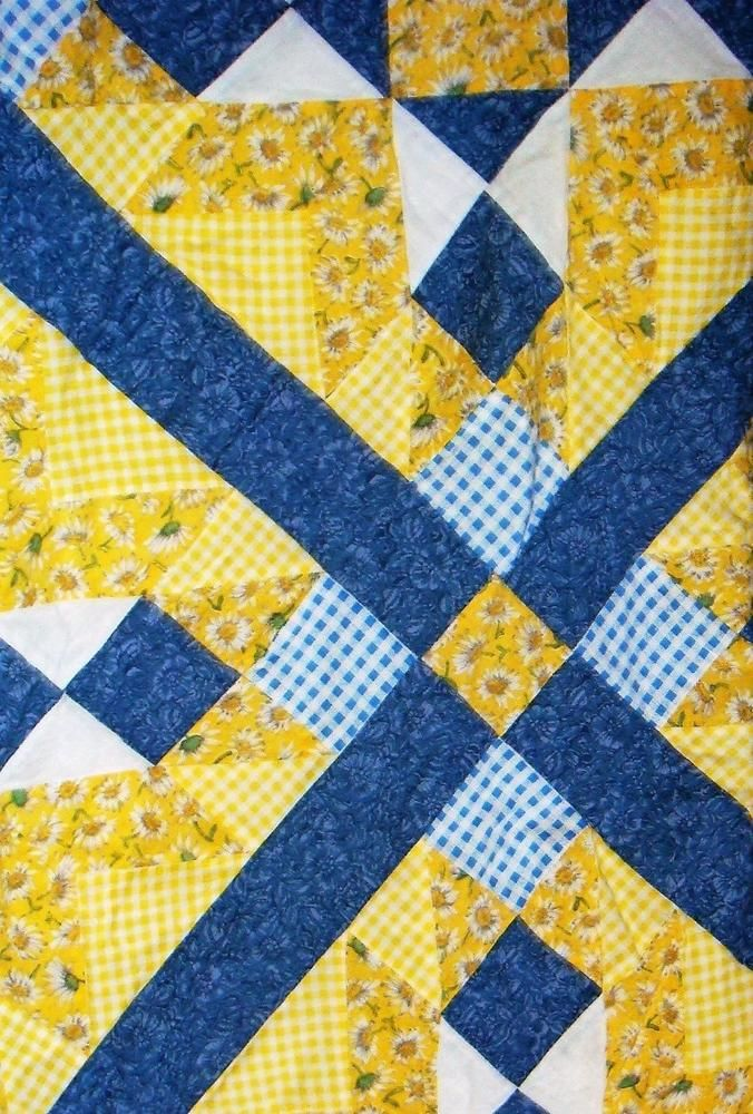 Yellow Blue White Quilt Patchwork Pieced Shower Curtain Daisy Floral Gingham Unbranded Country White Quilt Yellow Blue And White Quilts