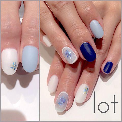 ブルー ジェルネイル beautiful blue nails