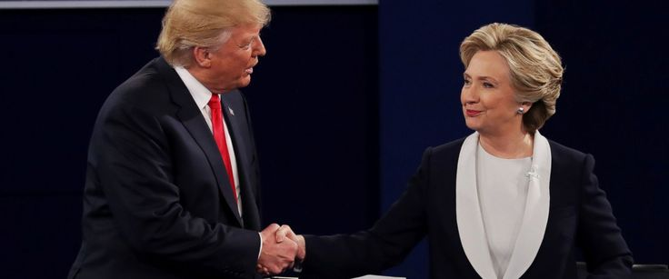 Headline: Who Donald Trump and Hillary Clinton Invited to Tonight's Debate Caption: Donald Trump shakes hands with Hillary Clinton during the town hall debate at Washington University, Oct. 9, 2016, in St Louis, Missouri. URL: http://abcnews.go.com/Politics/donald-trump-hillary-clinton-invited-tonights-debate/story?id=42913209