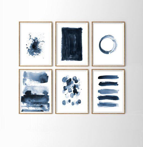 Navy Blue Wall Art Gallery Wall Set Indigo Blue Abstract Wall Art