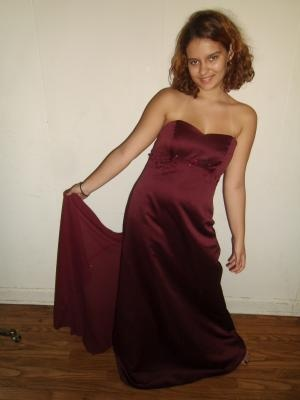Beautiful Burgundy Prom/Bridesmaid/Formal Dress Satin with Chiffon Train - Size 10 - David's Bridal